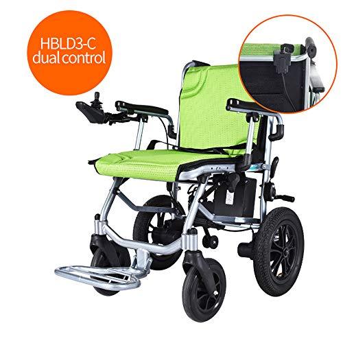 HYCBTC Elektro-Rollstuhl Leichtgewichtrollstuhl Falten, Compact Electric Chair Antrieb Mit Energie Oder Manuellen Rollstuhl 12-Meile Reichweite, 35LB,Dual Control