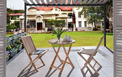 SAM 3-TLG. Balkongruppe Romana, Teak-Holz, 1x Tisch rund 70 cm + 2X Klappstuhl Menorca, Gartengruppe klappbar