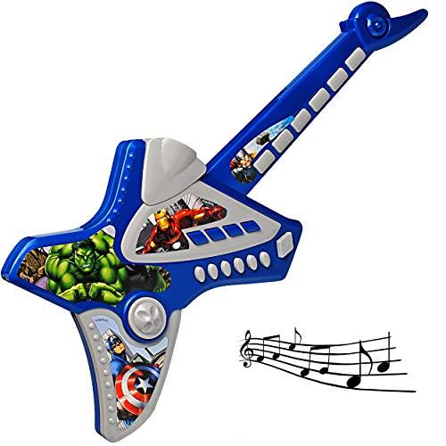 alles-meine.de GmbH elektrische E-Gitarre - Avengers - akustische Kindergitarre - mit Tasten - ohne Saiten - spielt Töne & Lieder ! - Verzerrer ! - für Kinder - aus Kunststoff - ..