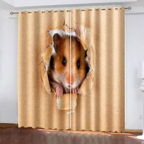 DRFQSK Cortinas Infantiles Impresión Digital Hámster De Arte Abstracto 3D Cortinas Opacas Termicas Aislantes Cortinas Dormitorio Moderno con Ollaos, 2 Paneles 300 X 270 Cm(An X Al)