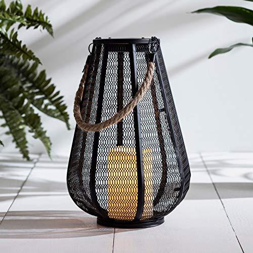 Lights4fun Solar Laterne schwarz Metall orientalisch 31cm