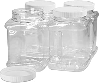 Pinnacle Mercantile 40 oz Plastic Containers Jars with Lids Square 4 Pack BPA Free Food Grade Made in the USA