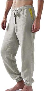 desolateness Men's with Elasitc Waist Drawstring Pocket Pants Casual Cotton Wash Pants