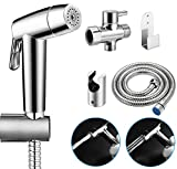 Abedoe Upgraded Handheld Bidet Sprayer for Toilet, Dual Modes Strong/Weak Water and Auto/Manual Operation Shattaf Baby Cloth Diaper Set - Electroplated ABS Sprayer & Brass T-Adaptor
