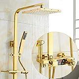 LINXYU Sistema de Ducha,Grifos de Ducha termostáticos de Oro de Lujo Baño Ducha de latón Grifo de bañera Grifo Mezclador Montado en la Pared Pantalla Digital de Mano, termostático