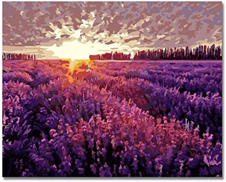 Agolong Digital Lavendel Garten Bilder Malen nach Zahlen zu zeichnen Leinwand Kunst DIY Handgemalte Farbwand Kit für Wohnzimmer Geschenk Mit Rahmen 40x50cm B07PWY6L4Y | Lebendige Form
