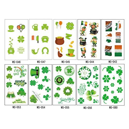 BESTOYARD Tattoo Aufkleber St Patrick Tag Tattoos Sickers Ireland Flagge Kobold Hut Kleeblatt Muster Wasserdicht Gesicht Körper Tattoos 10 Stück (Grün)