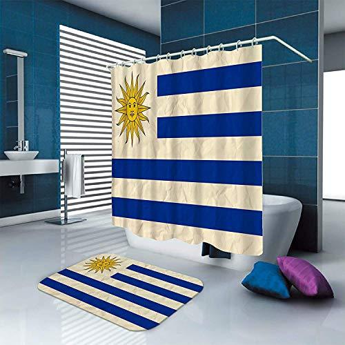 MMPTn Cortinas de baño Bandera de Uruguay Impermeable 71x71 Pulgadas Poliéster Incluye Doce Ganchos de plástico 40x60cm Material de Franela Adecuado para decoración del hogar