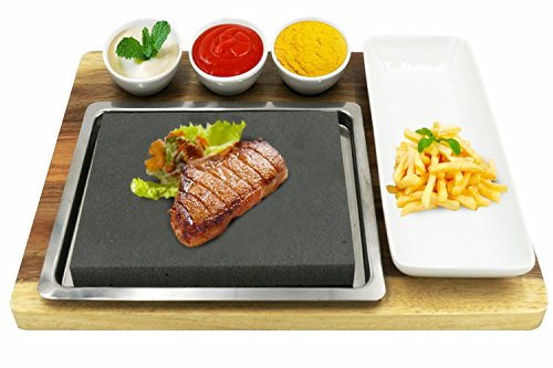 Fecihor Heißen Steaks Stein Set Hot Stone für Fleisch Grillt, Heisser Stein und Teller Set, Bambusplatte und Keramik Side Sauce Schüsseln, 38 x 27 x 3 cm (Heißen Steaks Stein Set)