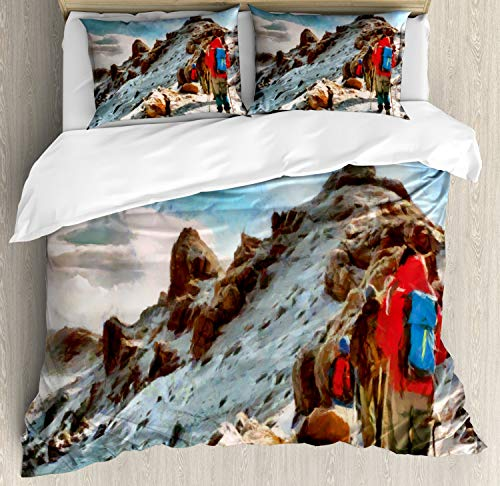 ABAKUHAUS Berg Dekbedovertrekset, trekkers Kilimanjaro, Decoratieve 3-delige Bedset met 2 Sierslopen, 230 cm x 220 cm, Veelkleurig