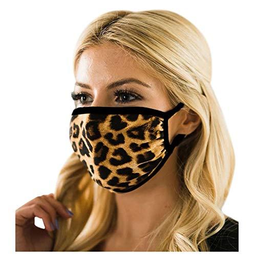 Loopardo Mundschutz Multifunktionstuch Baumwolle Atmungsaktiv Animal Print Maske Waschbar Wiederverwendbar Stoffmaske Camouflage Motorrad Mund-Nasen Bedeckung Leoparden Halstuch Schal Herren Damen