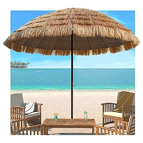 Waterproof Patio Garden Umbrella,Heavy Duty Thatch Patio Tiki Umbrella with Tilt Function,8 Ribs Sturdy & Stable Straw Hawaiian Thatched Parasol for Outdoor Terrace Backyard Beach