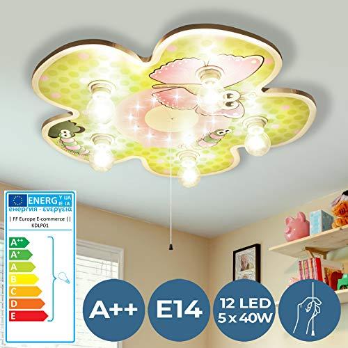 LED Kinderlampe mit Schlummerlicht - EEK: A++ bis E, 5xE14, Ø49cm - Deckenlampe, Deckenleuchte, Kinderzimmerlampe, Babylampe mit Nachtlicht für Jungenzimmer, Mädchenzimmer, Kinderzimmer