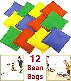 "Adorox Set of 12 Assorted 5"" Nylon Bean Bags Cornhole Primary Colors Carnival"