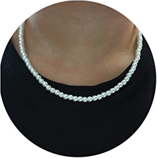 Pearl Necklace for Men,White Pearl Necklace for Women,Round Pearl Choker Necklace,Pearl Jewelry