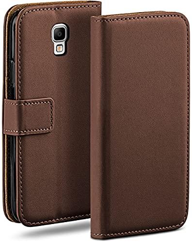 moex Klapphülle kompatibel mit Samsung Galaxy Note 3 Neo Hülle klappbar, Handyhülle mit Kartenfach, 360 Grad Flip Hülle, Vegan Leder Handytasche, Dunkelbraun