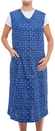 Tobeni Damen Kittelschürze lang mit Reissverschluss und Taschen ohne Arm 100% Baumwolle Farbe Design 32 Grösse 46