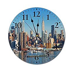 New York 3D Print Round Wall Clock,Urban City Skyline Manhattan with Empire State Building Over Hudson River Panorama 10 Inch Battery Operated Quartz Analog Quiet Desk Clock,Blue Grey