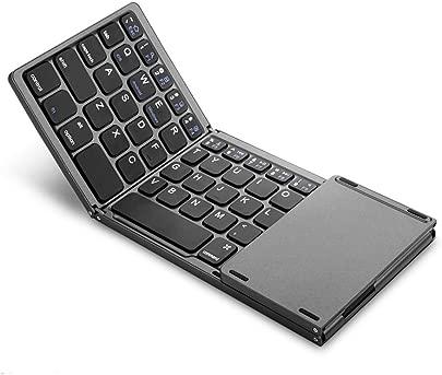 CHENG Ultra-d nne Mini drahtlose faltende Tastatur  faltbar Touchpad Wireless-Touch-Tastatur Bluetooth-Code Key f r Android Ios Windows-System  wei