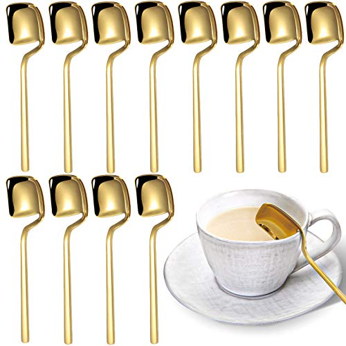 Yopay 12 Pack 304 Stainless Steel Coffee Spoons Demitasse Espresso Spoon Mini Gold Plated Teaspoons Set for Rest Cake Sugar Dessert Tea Ice Cream 56 Inch