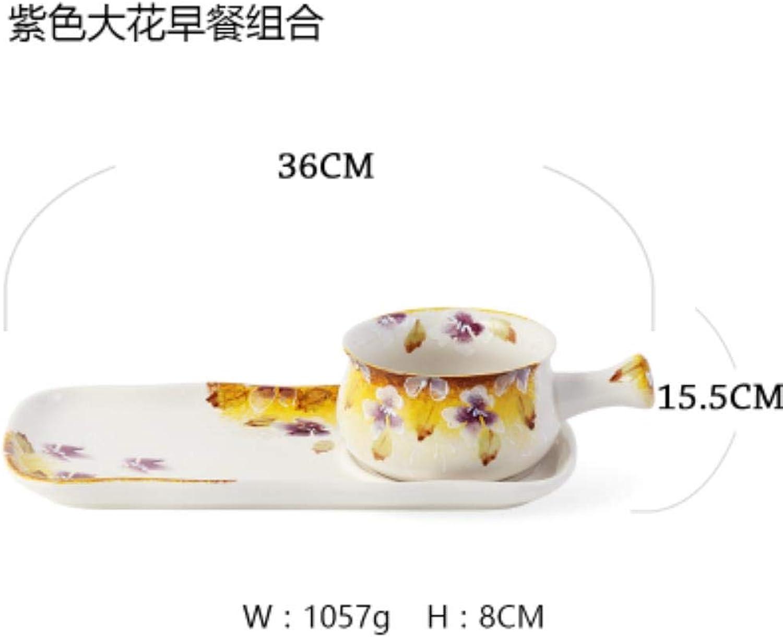 Mumusm - Violet, Grandes Fleurs, sous-gLaçage en céramique, Petit déjeuner, Bol à céréales, saladier - Combinaison de Deux Ensembles de Nourriture Humaine