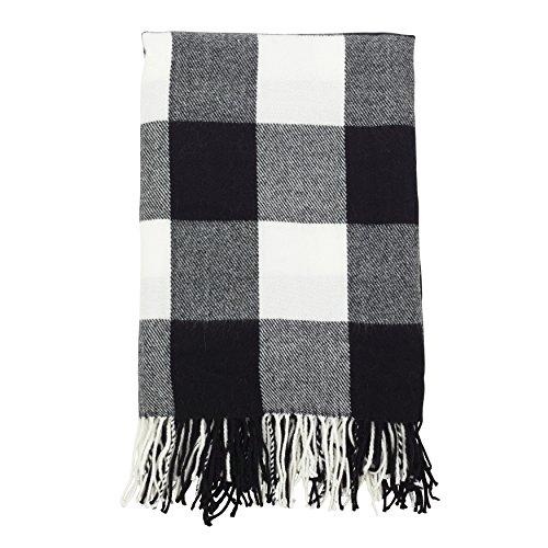 """SARO LIFESTYLE Buffalo Plaid Check Tassel Throw Blanket, 50"""" x 60"""", Black"""