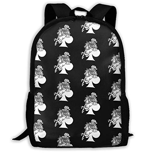Hdadwy Anime Black Clover Jumper of Clubs Bla and White Tapestry Backpack Shoulder Bag Travel Bags Laptop Bag School Bag for Boys Girls