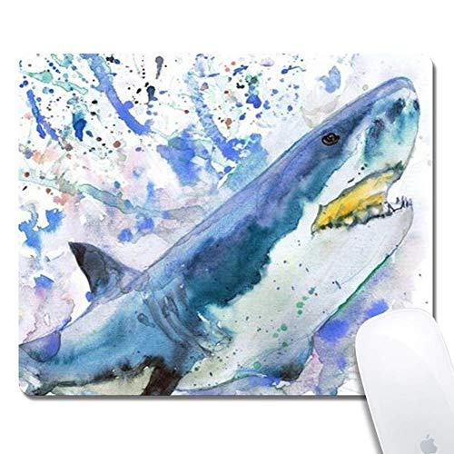 Tappetino per mouse ergonomico esteso Shark dell'acquerello, rettangolo in gomma 250X300X3mm Tappetino per mouse shark dell'acquerello
