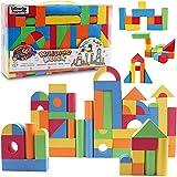 131 Piece Foam Building Blocks - Creative Educaitonal EVA Foam Bricks Toys Playset for Kids, Toddlers Includes Large, Soft, Stackable Blocks
