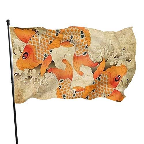 Drapeau Japonais Fantaisie pour Carpe koï - en Polyester Durable - Couleurs Vives et résistant aux UV - pour Jardin, Pot de Fleurs - 0,9 x 1,5 m, Noir, Taille Unique