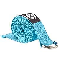 Yamkas Yoga Gurt 100% Bio Baumwolle   1.8M - 3M Lang   Yogagurt mit Verschluss aus Metall   Yoga Strap Stretch Band   Blau