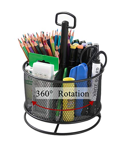 Cmonie Mesh Desk Organizer,360-Degree Rotating Multi-Functional Pen Holder,4 Compartments Large Spinning Desktop Stationary Organizer for Home Office Art Supplies, Paints, Crayons, Brushes