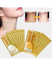 Collagen Neck Mask, 5 Sheets Neck Mask Anti-Wrinkle Collagen Neck Pad Patch Skin Whitening Firming Moisturizing Neck Lift Mask (Gold)