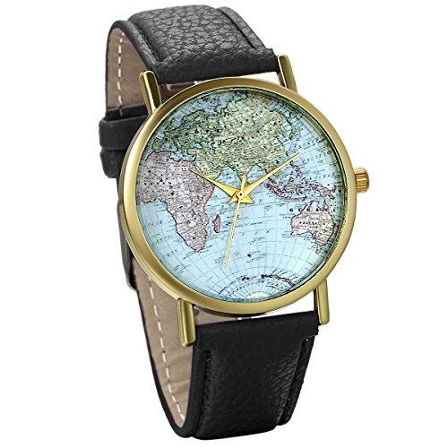 JewelryWe Damen Armbanduhr Retro Weltkarte Globus Karte World Map Leder Band Analog Quarz Uhr Bloggeruhr Geschenk Schwarz