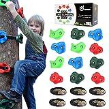 Odoland Ninja Line Tree Climbers 12 Klettergriffe mit 6 robusten Ratschen und Gurten für die Sicherheit, Kletteraffe Ninja Warrior Trainingsausrüstung Anfänger Slackline für Kinder und Erwachsene