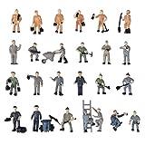 SODIAL(R) Sable modele de Table 25pcs 1:87 Figurines Peintes Figures Miniatures des Travailleurs Ferroviaires avec Seau et Echelle