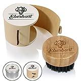 Eberbart Brosse à barbe ronde en poils de sanglier – Idéale pour entretenir votre barbe au quotidien (Boîte en bois)