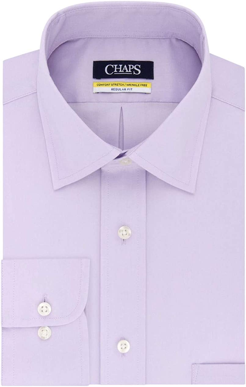 Chaps Men's Elite Performance Regular Fit Comfort Stretch Spread Collar Dress Shirt (Ice Lilac, Neck 17.5 Sleeve 36-37)
