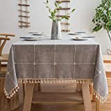 Joy Fabric Cotton Linen Tablecloths, Wrinkle Free Anti-Fading Table Cloth, Tassel Square Indoor & Outdoor Dining Table Cover (Grey Checkered, 55 x 55 Inch)