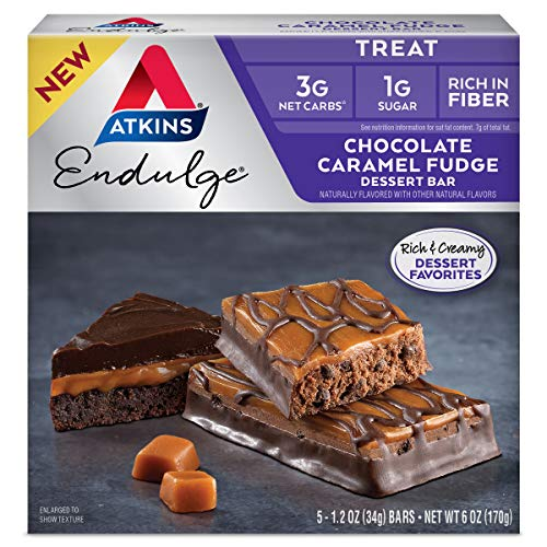 Atkins Endulge Treat Dessert Bar Chocolate Caramel, Fudge, 5 Count