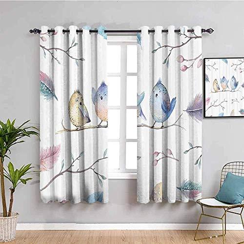 Nileco Cortinas Opacas Termicas - Blanco plumas ramas pájaro - 140x160 cm - Cortinas del Dormitorio de la Habitación de los Niños - 3D Impresión Digital con Ojales Aislamiento Térmico