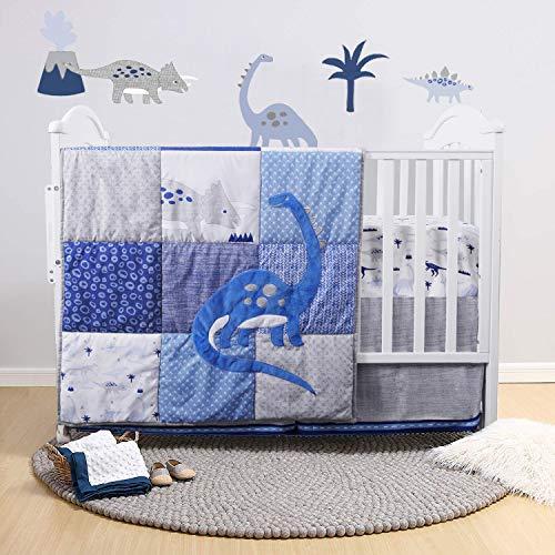 Dinosaur Crib Bedding Set | Navy/Blue/Grey with Embroidery | 3 Piece Nursery Set for Boys Includes Crib Comforter, Fitted Crib Sheet, Crib Skirt