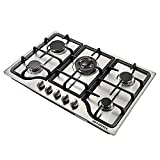 METAWELL 30' Stainless Steel 5 Burner Built-in Stoves NG Gas Hob Cooktops Cooker