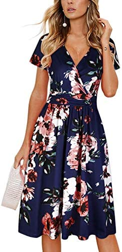 OUGES Women s Summer Short Sleeve V Neck Floral Short Party Dress with Pockets Floral02 XL product image