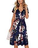 OUGES Women's Summer Short Sleeve V-Neck Floral Short Party Dress with Pockets(Floral02#,XL)