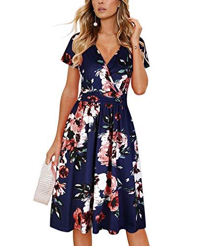 OUGES Women's Summer Short Sleeve V-Neck Pattern Knee Length Dress with Pockets(Floral02,L)