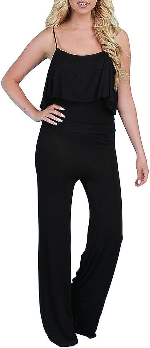 Linsery Women's Paghetti Strap Ruffle Top Wide Leg Pants Suits Beachwear