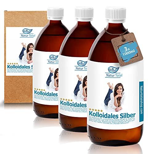 Natur Total Kolloidales Silber 100PPM [XXL-Set] | 3 Braunglasflaschen a 1000ml | natürliches & hochreines Silberwasser | Reinstwasser Typ 1 und Pures Silber >99,99%