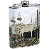 Flask Vintage Train Station Locomotive Railroad S13 Stainless Steel 8oz Hip Silver Alcohol Brandy Whiskey Drinking