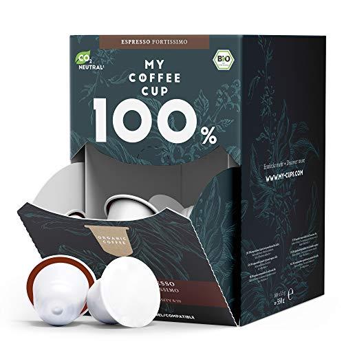 My Coffee Cup – MEGA BOX ESPRESSO FORTISSIMO – BIO-KAFFEE I 100 Kaffeekapseln für Nespresso®³-Kapselmaschinen I 100% industriell kompostierbare Kaffeekapseln – 0% Alu I Nachhaltige Kaffeekapseln